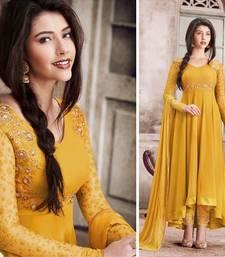 Buy Yellow embroidered georgette salwar with dupatta karva-chauth-salwar-kameez online