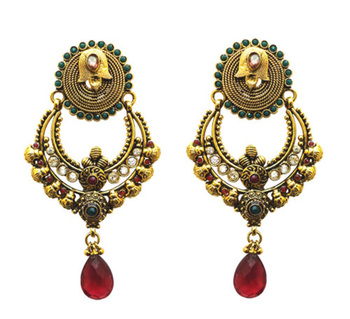 designer red stone drop polki earring