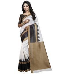 Buy White printed bhagalpuri silk saree with blouse printed-saree online