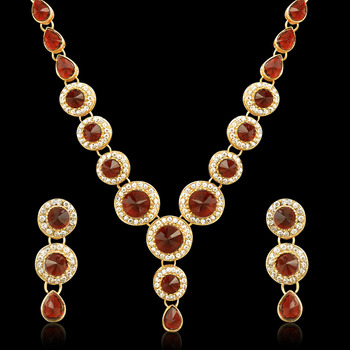 Red Circle Stone Diamentes Necklace Set B152M