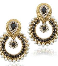 Buy Pearl with black stone traditional ethnic Indian best seller earring b332k hoop online
