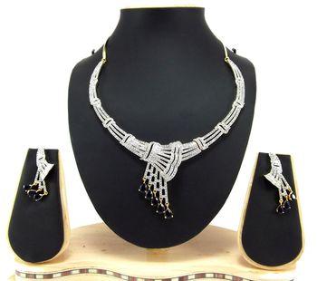 sapphire blue american diamond party wear necklace set