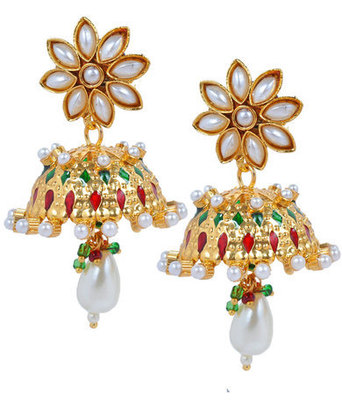 Sexy Gold Jaali Work Push-Back Jhumki Earrings