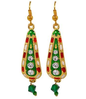 Modern Green Meenakari Fish-Hook Dangler Earrings