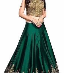 Buy Green embroidered silk unstitched lehenga lehenga-choli online