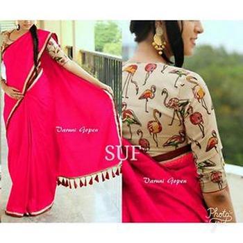 Dark baby pink plain chanderi silk saree with blouse