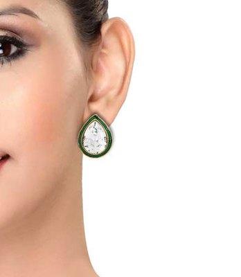 Fashionable Green Stone Work Push-Back Stud Earrings