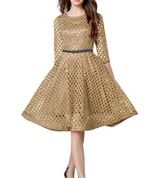 Buy Golden plain crepe stitched short-kurtis short-kurtis online