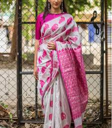 Buy pink printed silk saree with blouse silk-saree online