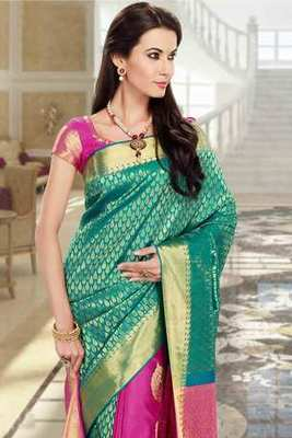 Pink & bluish green combo silk zari weaved saree in golden border