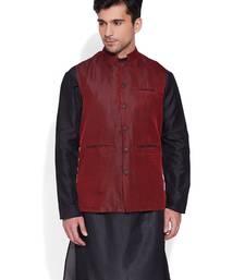Buy maroon printed stitched nehru jacket men-festive-wear online