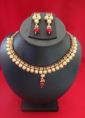 Delicate Ruby & Golden bead Necklace with Earrings