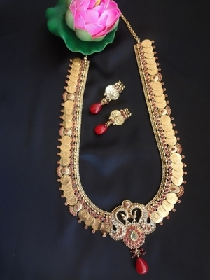 Long Laxmi Rani Haar with peacock Motif - Ruby