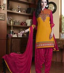 Buy yellow embroidered cotton unstitched salwar with dupatta punjabi-suit online