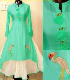 Buy Turquoise embroidered chanderi long-kurtis long-kurti online