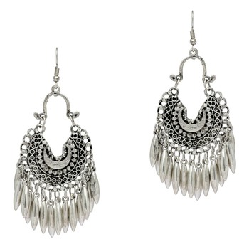 Silver Color Silver Plated Afghani Earrings