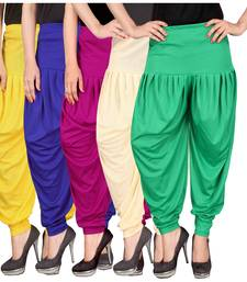 Buy Yellow blue pink cream green stirped combo pack of 5 free size harem pants harem-pant online