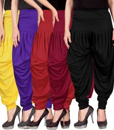 Buy Yellow blue red maroon black stirped combo pack of 5 free size harem pants harem-pant online