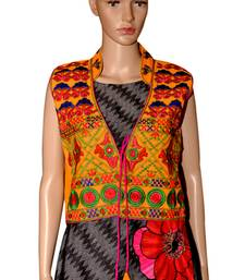 Buy Yellow embroidered Cotton stitched jacket ethnic-jacket online