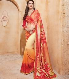 Buy Orange and red printed satin georgette saree with blouse printed-saree online