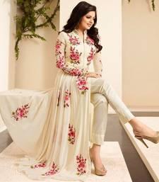Buy Off white embroidered georgette salwar black-friday-deal-sale online
