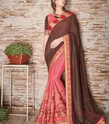 Buy Coffee embroidered lycra saree with blouse diwali-sarees-collection online
