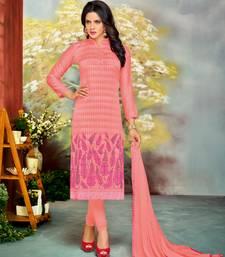 Buy Light peach embroidered chanderi salwar with dupatta salwar-kameez online