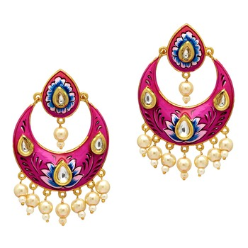 Festive Special Rani Color Rhinestone and Imitation Pearl Meenakari Earrings