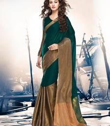 Buy Green hand woven cotton silk saree with blouse banarasi-saree online