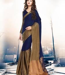 Buy Blue hand woven cotton silk saree with blouse banarasi-saree online