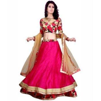 pink art_silk printed lehenga with dupatta