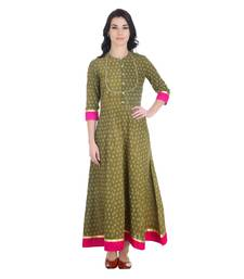 Buy Green Stiched Cotton stitched dresses dress online