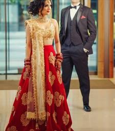 Buy Red embroidered silk semi stitched lehenga lehenga-choli online