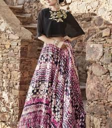 Buy Multicolor embroidered satin unstitched lehenga wedding-season-sale online