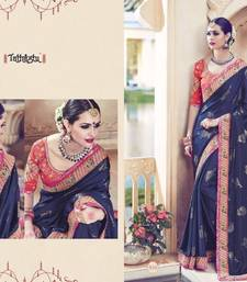 Buy Blue embroidered chiffon saree with blouse wedding-saree online