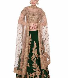 Buy Rozy Fashion Green embroidered velvet semi stitched lehenga bridal-lehenga online