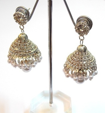 LIGHT GOLDEN ZIRCON STUD JHUMKAS