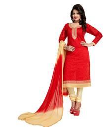 Buy Red embroidered chanderi salwar chanderi-salwar-kameez online