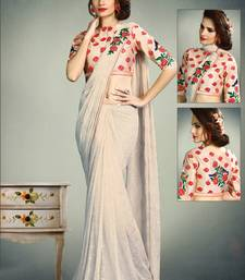 Buy Off white embroidered fancy fabric saree with blouse pre-stitched-saree online