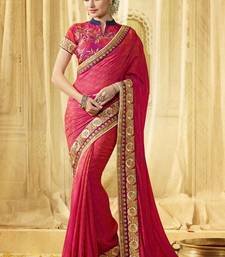 Buy Pink embroidered art silk saree with blouse bridal-saree online