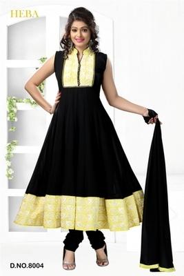 Black Embroidered georgette Readymade Salwar Kameez with matching Dupatta