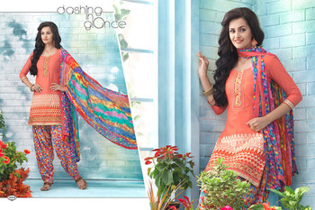 New Peach Designer Printed Patiala Style Dress