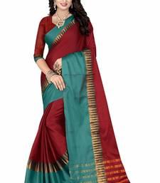 Buy Maroon printed cotton silk saree with blouse cotton-silk-saree online