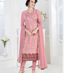 Buy Pink embroidered Georgette semi stitched salwar with dupatta dress-material online