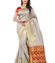 Buy White woven poly cotton saree with blouse hand-woven-saree online