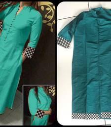 Buy Turquoise plain cotton ethnic-kurtis ethnic-kurti online