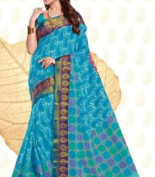 Buy Blue woven cotton saree with blouse handloom-saree online