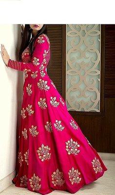 Pink ambroidery taffeta semi stitched gown