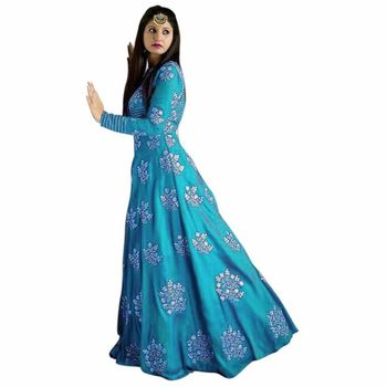 Sky blue ambroidery taffeta semi stitched gown