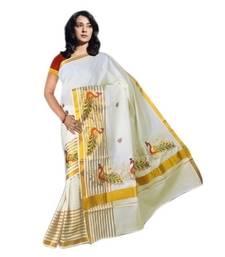 Buy Peacock's embroided in weaved fancy peacock kasavu kerala saree kerala-saree online